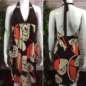 Brown & orange backless stretch XL halter dress